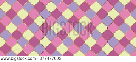 Moroccan Seamless Mosaic Design. Seamless Moroccan Ornament Eid Mubarak Muslim Decoration. Ramadan T