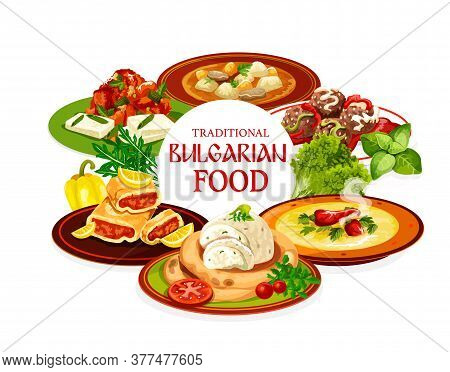Bulgarian Food Vector Design Of Meat And Vegetable Soups, Tomato Pepper Chutney Lutenitsa With Brynd