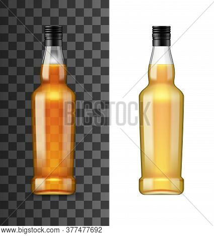 Bottle Of Alcohol Drink With Whiskey Or Cognac Isolated Realistic Mockup. Vector Glass Flask On Tran