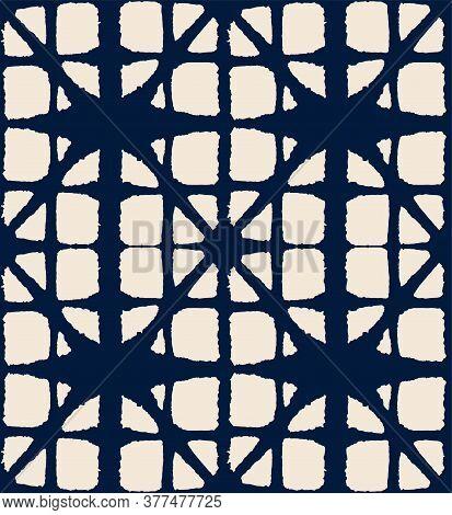 Japanese Tie Dye Seamless Pattern. Boho Arc Curve Print Vintage Shibori Seamless Pattern. Bohemian G