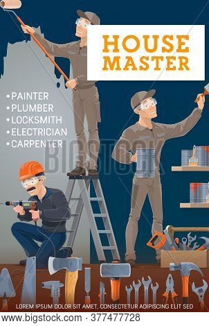 Painter, Electrician, Carpenter And Locksmith Vector Design With Construction, House Repair And Reno