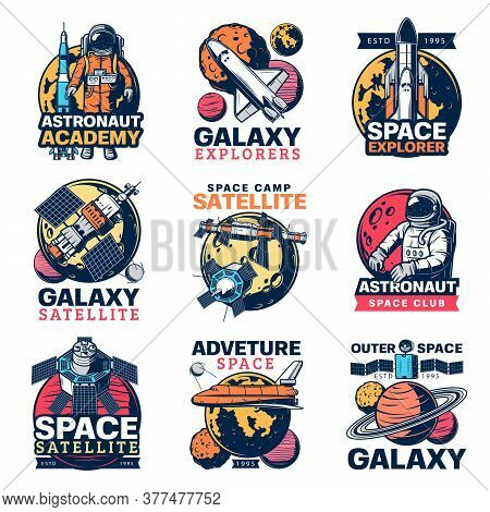 Space Astronaut, Spaceship And Planet Vector Icons. Galaxy Exploration Satellite, Rocket And Spacema