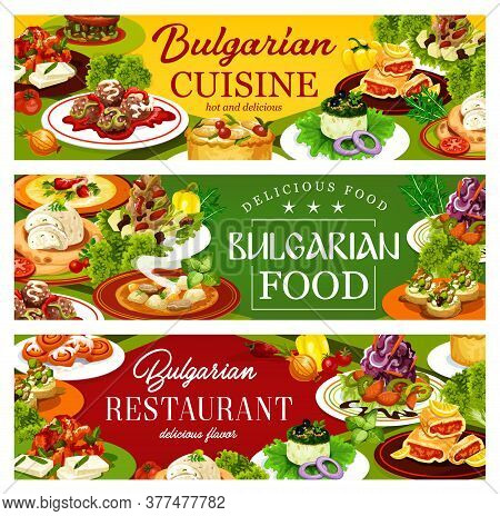 Bulgarian Cuisine Restaurant Food Vector Banners. Vegetable And Meat Soups, Bryndza Cheese With Pepp