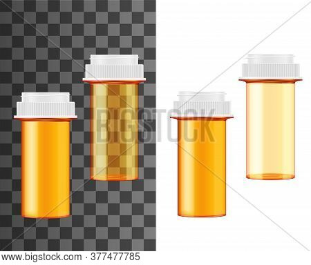 Pill Bottle Or Jar Realistic Mockups, Vector Medicine And Pharmacy Design. Orange Transparent And Ma