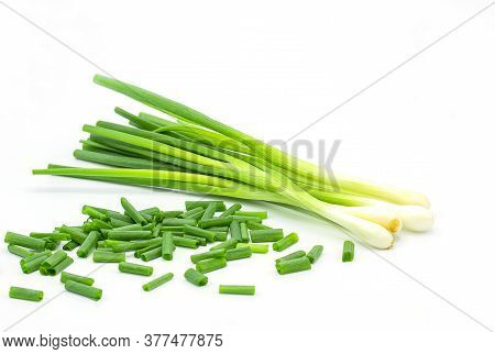 Heap Of Chopped Spring Onions Isolated On White Background
