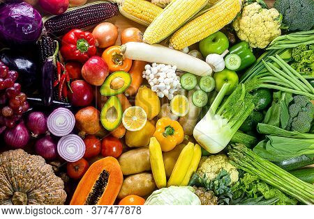 Fresh Vegetables And Fruits,colorful Fruits And Vegetables,clean Eating,vegetables And Fruits Backgr