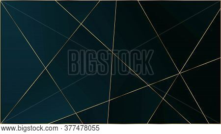 Blue Luxury Polygon Pattern. Silver Vip Rich Geometric Celebration Background. Gold Lines Triangular