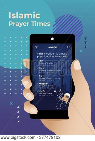 An Illustration Of Ritual Islamic Prayer Time On Mobile Phone