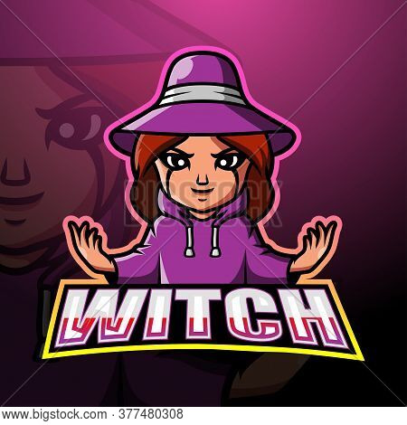 Vector Illustration Of Witch Mascot Esport Logo Design