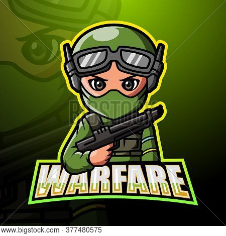 Vector Illustration Of Warfare Mascot Esport Logo Design