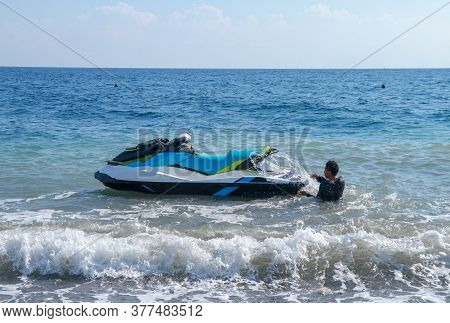 Jetski Floating On Blue Sea Water. Strong Power Watercraft Is Waiting Customers