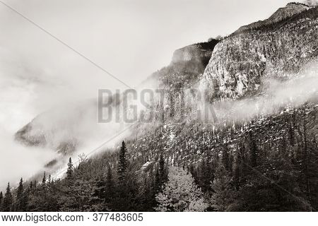 Snow Mountain closeup view in Banff National Park in Canada