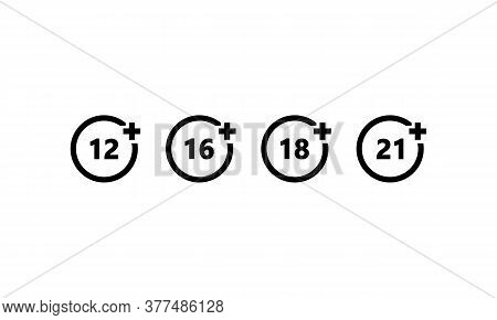 Set Of Age Restriction Icons. Age Limit Concept. Vector On Isolated White Background. Eps 10.
