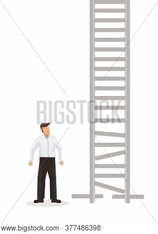 Business Man Looking At A Broken Ladder. Concept Of Business Obstacle. Flat Cartoon Character Vector