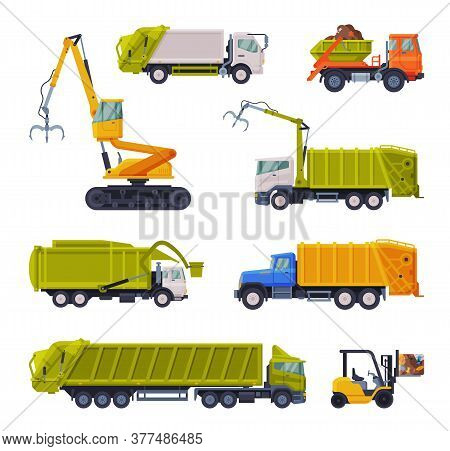 Special Vehicles Set, Garbage Truck, Bulldozer, Waste Collection, Transportation And Recycling Conce