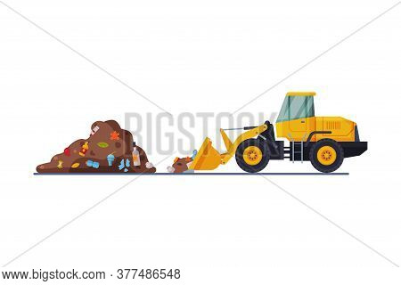 Yellow Modern Bulldozer For Garbage Cleaning, Heavy Special Landfill Machinery, Waste Transportation