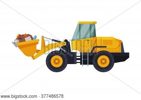Yellow Modern Bulldozer With Garbage, Heavy Special Machinery For Landfills, Waste Transportation An