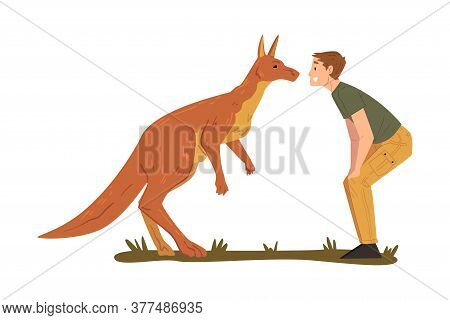 Male Zoo Worker And Kangaroo Looking At Each Other, Veterinarian Or Professional Zookeeper Character