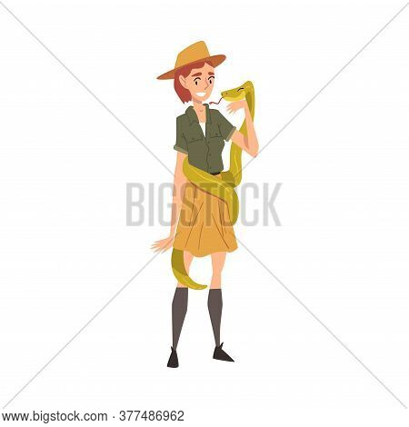Smiling Female Zoo Worker With Snake, Veterinarian Or Professional Zookeeper Character Caring Of Wil