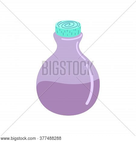A Glass Bottle With A Magic Potion. A Magic Potion. Elixir. Flat Vector Illustration. Design For Hal
