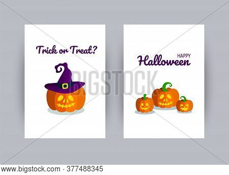 Greeting Card For Halloween Party. Carved Halloween Pumpkins. Vector Illustration