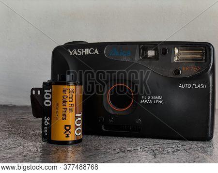 Indore, India - July 24,'2020: Yashica Vintage Reel Camera With Kodak Films. Yashica Kr-717 S. Camer