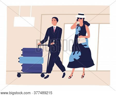 People, Passenger At Airport, Depart, Arrival For Journey. Porter Man Pushes Trolley With Baggage. B