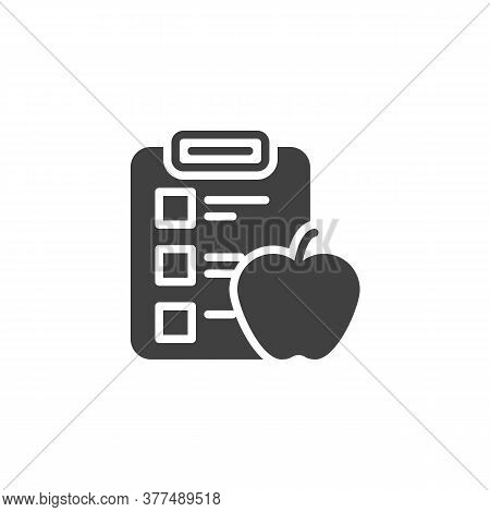 Diet Plan Schedule Vector Icon. Planning Dieting Filled Flat Sign For Mobile Concept And Web Design.