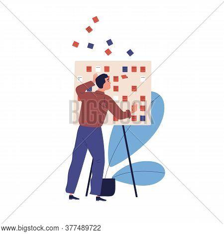 Concept Of Missing Deadline, Bad Time Management. Scene Of Upset, Nervous Man Standing By Work Clipb