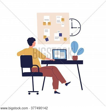 Concept Of Good Time Management, Work Plan. Organize Schedule. Man, Office Manager At Workplace With
