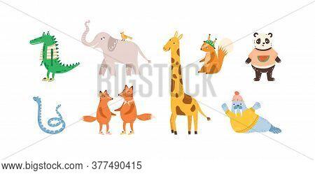 Set Of Childish Cute Animal Characters. Design, Decoration, Decorative Element. Funny Panda, Walrus,