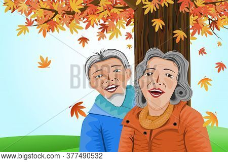 Illustration Of Old Couple Happy Face Under A Multicolored Leaf Tree,concept Of Old Couple In Autumn