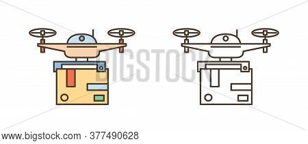 Set Of Line Art Drones With Package Box. Delivery Service By Modern Electronic Device. Flying Gadget