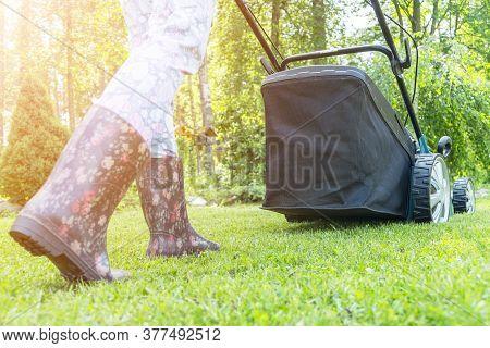 Beautiful Girl Cuts The Lawn. Mowing Lawns. Beautiful Woman Lawn Mower On Green Grass. Mower Grass E