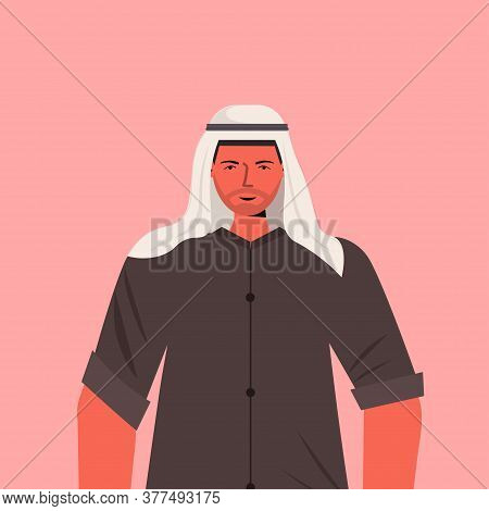 Arabic Man In Traditional Clothes Arab Male Cartoon Character Portrait Vector Illustration