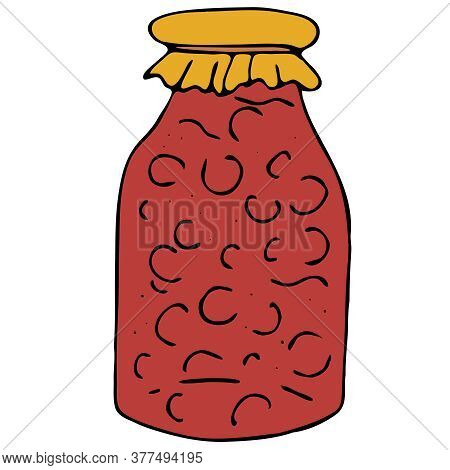 Jar Of Jam Or Compote, Blanks For The Winter, Freehand Drawing, Vector Element In Doodle Style, Blac