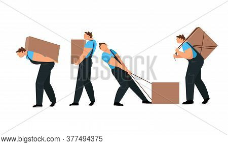 A Man With A Load. A Worker Loads Boxes. A Person Carries A Heavy Load. Vector Image