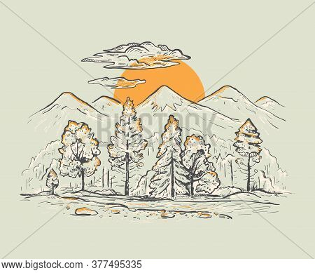 Sketch Of A Mountains With Forest, Stream, Sunrise Or Sunset On A Gray Background. Romantic Vector L