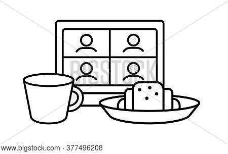Online Meeting Friends For Breakfast Linear Icon. Party With Cup Of Tea, Coffee, Croissant. Teleconf