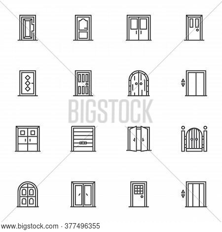 Architectural Doors Line Icons Set, Outline Vector Symbol Collection, Linear Style Pictogram Pack. S