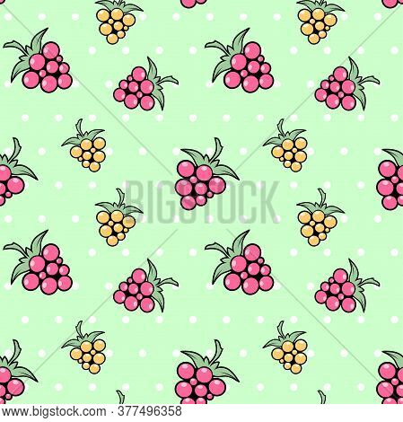 Yellow And Pink Berries On A Green Background With White Polka Dots. Raspberries, Dewberry And Bramb