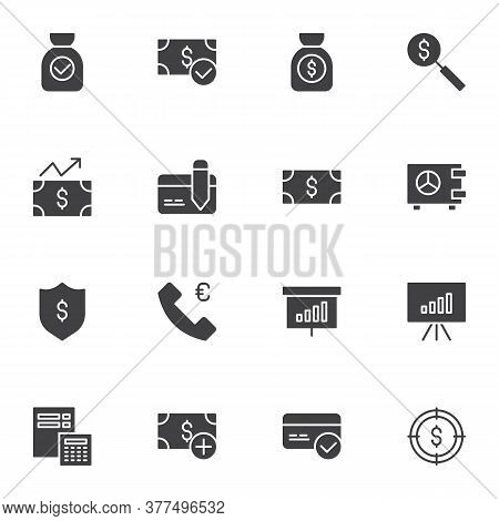 Financial Vector Icons Set, Modern Solid Symbol Collection, Filled Style Pictogram Pack. Signs Logo