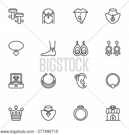Fashionable Jewelry Collection, Line Icons Set, Outline Vector Symbol Collection, Linear Style Picto