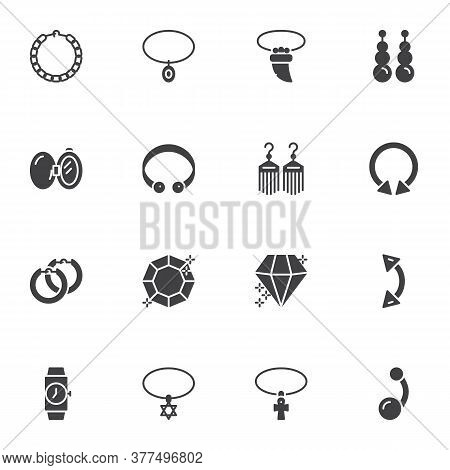 Jewelry And Women Accessories Vector Icons Set, Modern Solid Symbol Collection, Filled Style Pictogr