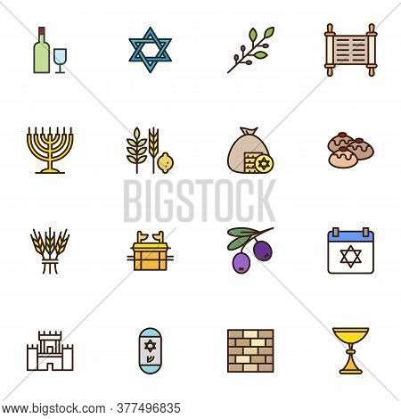 Jewish Hanukkah Holiday Filled Outline Icons Set, Judaism Line Vector Symbol Collection, Linear Colo