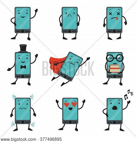 Mobile Phone Cartoon Character Set. Sad, Smiling Or Dead Cellphone, Smartphone In Superhero Clothes,