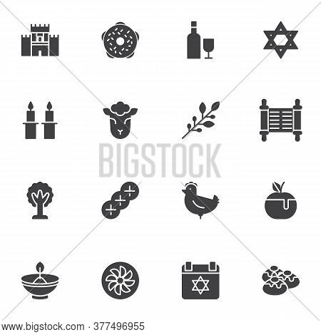 Judaism Related Vector Icons Set, Modern Solid Symbol Collection, Filled Style Pictogram Pack. Signs