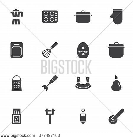 Kitchenware Vector Icons Set, Kitchen Utensils Modern Solid Symbol Collection, Filled Style Pictogra