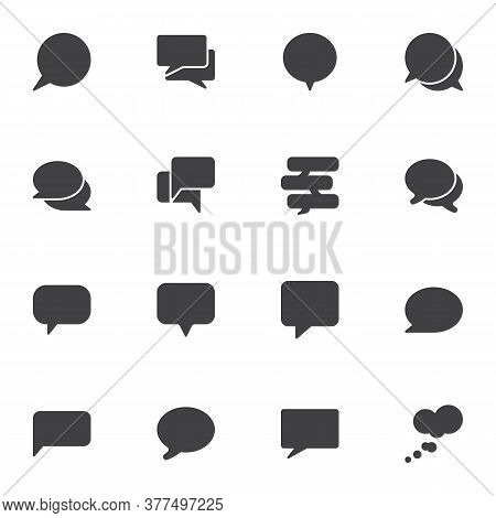 Empty Speech Bubbles Vector Icons Set, Modern Solid Symbol Collection, Filled Style Pictogram Pack.