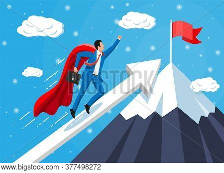 Super Businessman On Mountain Chart Ladder With Waving Necktie And Briefcase. Goal Setting. Smart Go